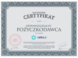 Ratka.pl otrzymała certyfikat Odpowiedzialnego Pożyczkodawcy